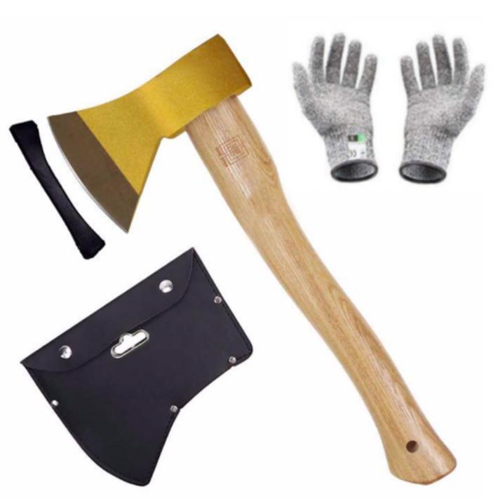 キャンプ アウトドアの薪割りに スーパーSALE5倍ポイント 金の斧 手斧 ショッピング 大工斧保護 鉈 軍手付き 斧ャンプ用品 薪割り メーカー直送 ケース付き ガーデン用手斧