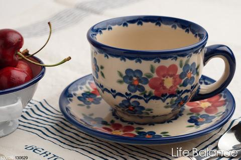 ポーリッシュポタリー ポーランド陶器・ポーランド食器 VENA社 ヴェナカップ&ソーサー (V033-U072):Life Balance (ライフバランス)