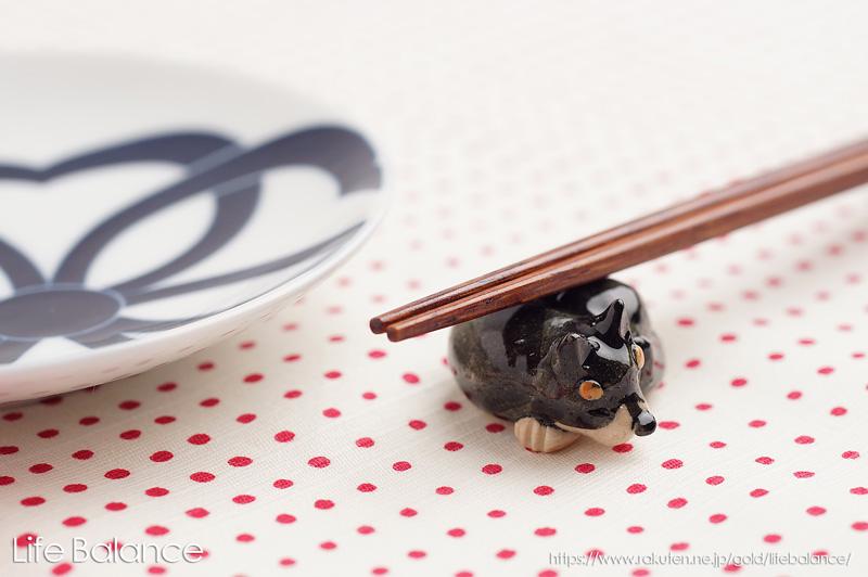箸置き ソラマメ商会 豆屋 はしおき 日本の犬 柴犬 黒 まんまる KR-027