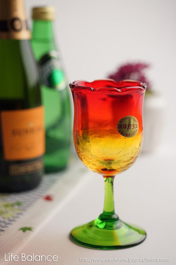 沖縄から届く、美ら海のようなガラスたち♪手に伝わる優しい風合い 琉球ガラス ワイングラス【上地 広明 琉球ガラス王国】 チューリップワイングラス 赤(741-0065)