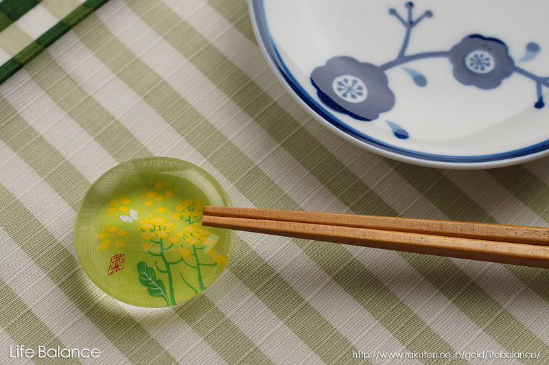 薬師窯 玻璃箸置 菜の花 9424