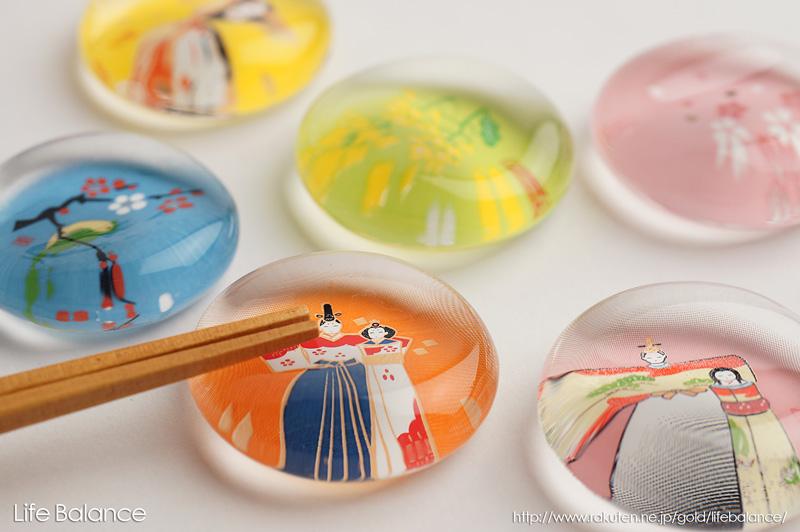 薬師窯 玻璃箸置  立雛・松  9406