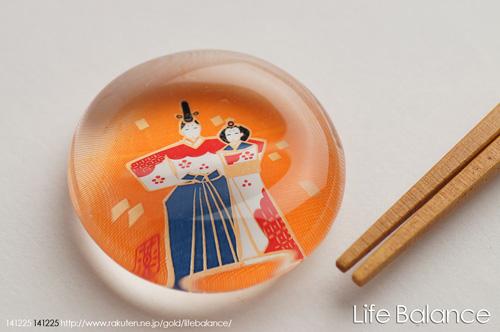 薬師窯 玻璃箸置  立雛・梅  9421