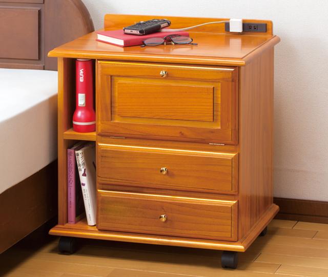 fam+ ファムプラス 桐製 木製 ベッドサイド ワゴン コンセント付き インテリア 収納 テーブル ナイトテーブル