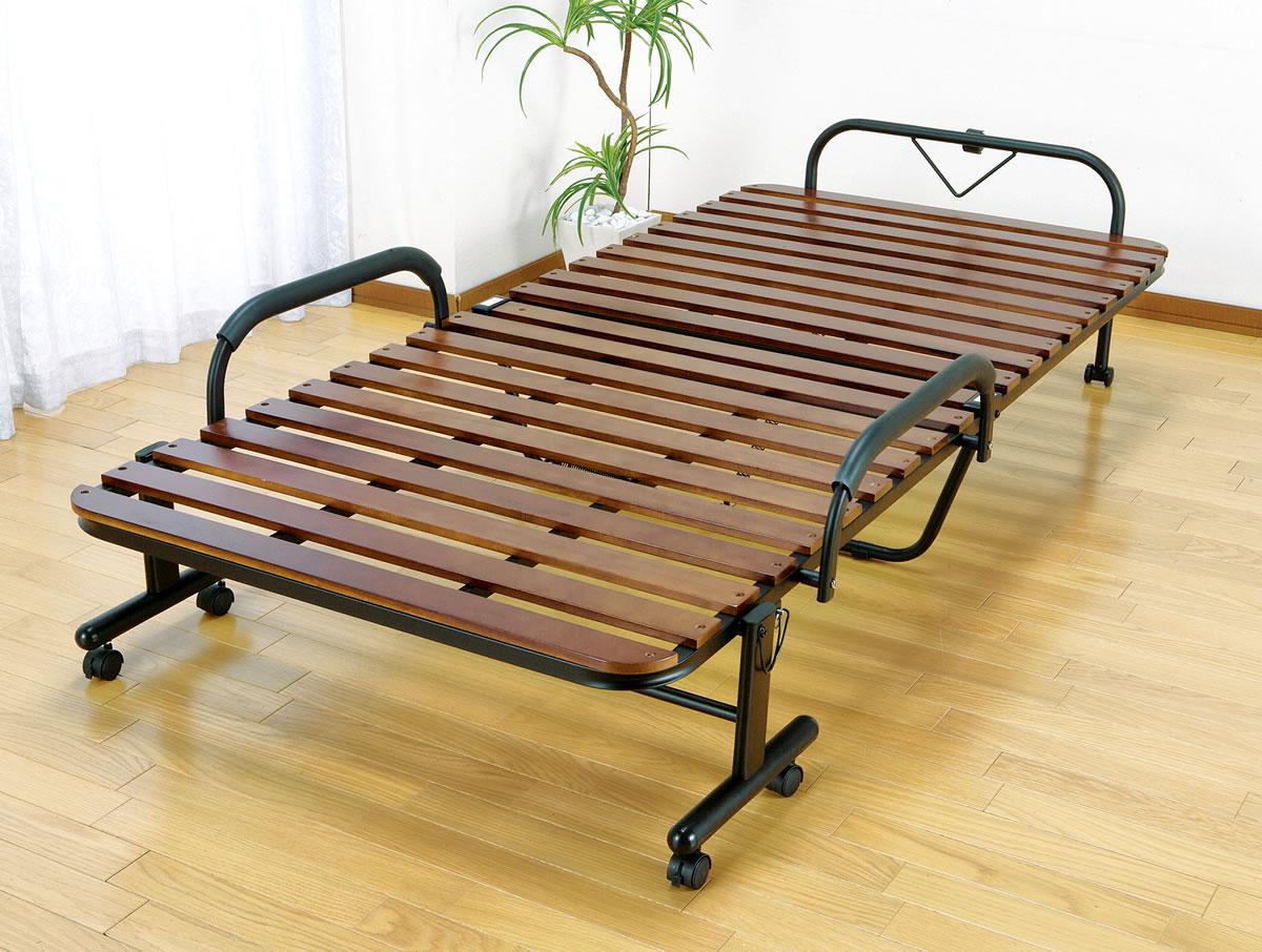 ベッド 折りたたみベッド すのこベッド 桐製 木製 すのこ 折りたたみ キャスター付き シングル