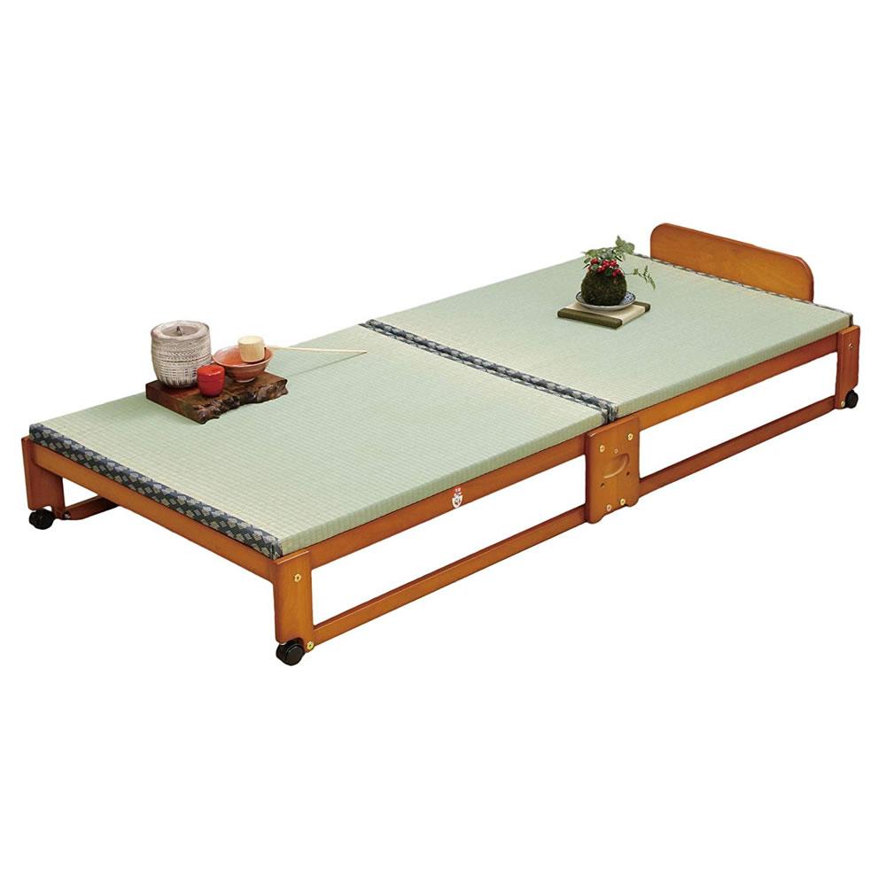 【代金引換不可】中居木工 畳ベッド ワイド らくらく折りたたみ式 畳 ベッド 日本製