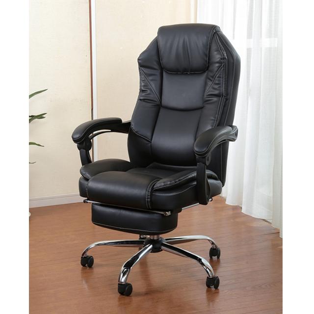 スライドフットレス付きオフィスチェア パーソナルチェア ハイバック リクライニング フットレスト オフィスチェア パソコンチェア デスクチェア チェア 椅子 いす ワークチェア 合成皮革