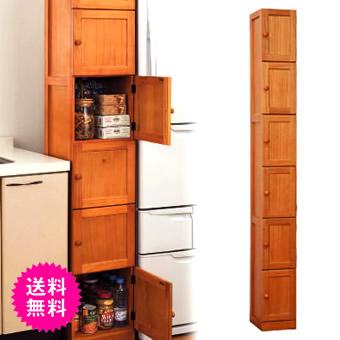 在庫処分 fam+ ファムプラス 桐製 木製 すきま収納庫 6ドア 20cm幅