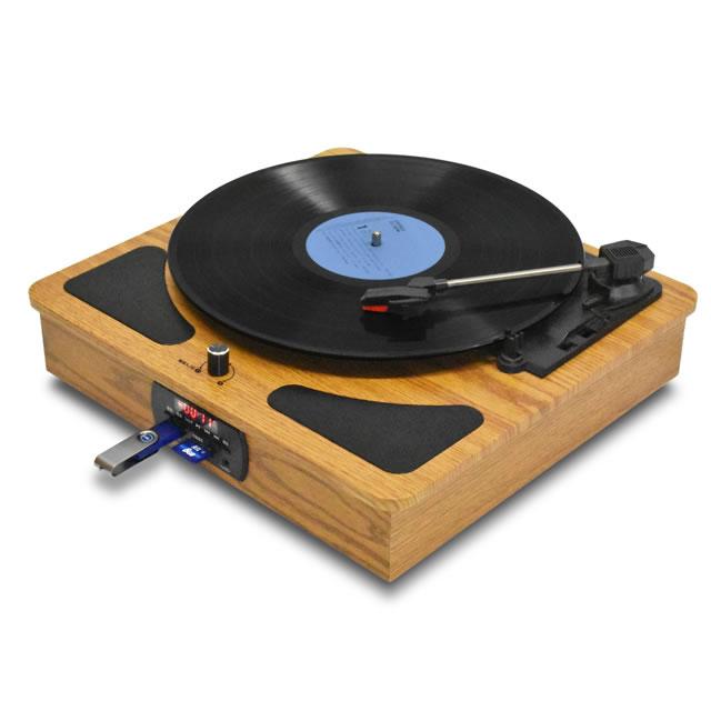 【D】 CLS50送料無料 ブルートゥース クラシックレコードプレーヤー プレイヤー レコード 音楽 ウッド調ブラウンカラー アぺリアフューズ Bluetooth搭載
