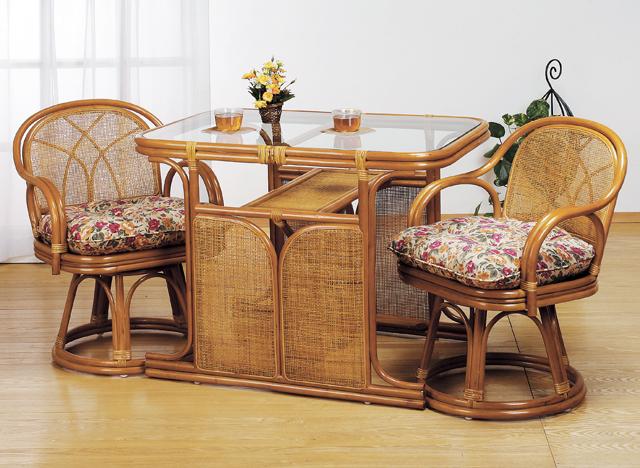 ダイニングテーブル チェア 2脚セット 天然籐 籐製 ラタン ダイニングセット 3点セット