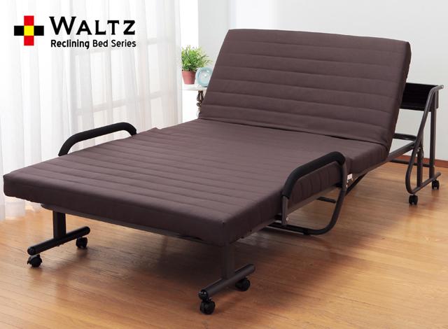 Waltz ワルツ リクライニングベッド シングル 手動 木製棚 収納式 コンセント付