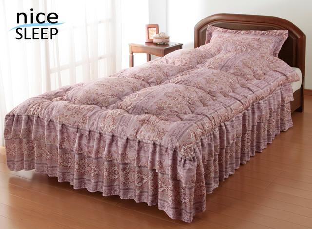 nice SLEEP ナイススリープ 抗菌・防臭加工シルク混ダブルフリルベッド布団 同柄枕カバー付き ダブル