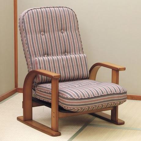 【代金引換不可】中居木工 ゆったり座れる 天然木 リクライニング 高 座椅子 リクライニング 木製 肘 付き 日本製