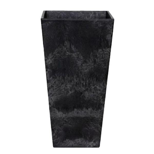 アートストーン トールスクエア 35cm×H70cm ブラック /底面給水型植木鉢(底栓付)