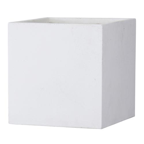 植木鉢 大型 軽量 ファイバークレイ製 バスク 外寸50cm キューブ ホワイト