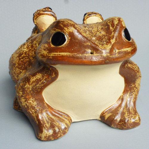 信楽焼 蛙(子2匹) 20号 /陶器置物