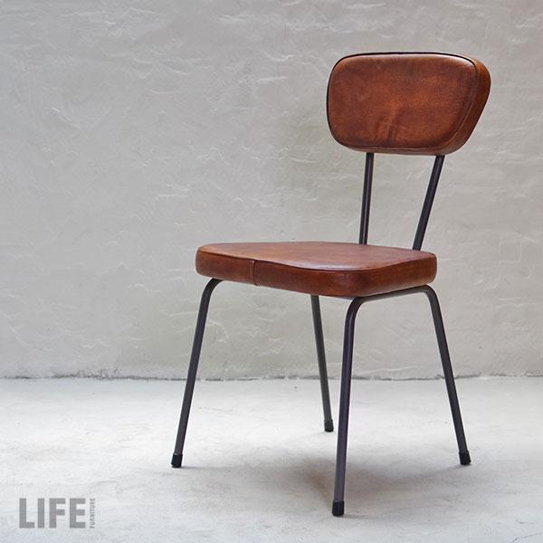 ダイニング チェアー 椅子 本革 レザー アイアン チェアー【COLOR:BR】