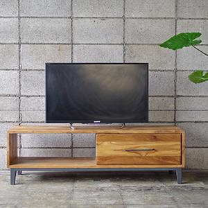 チーク材 家具 テレビボード 無垢 ナチュラル チーク アイアン インダストリアル家具