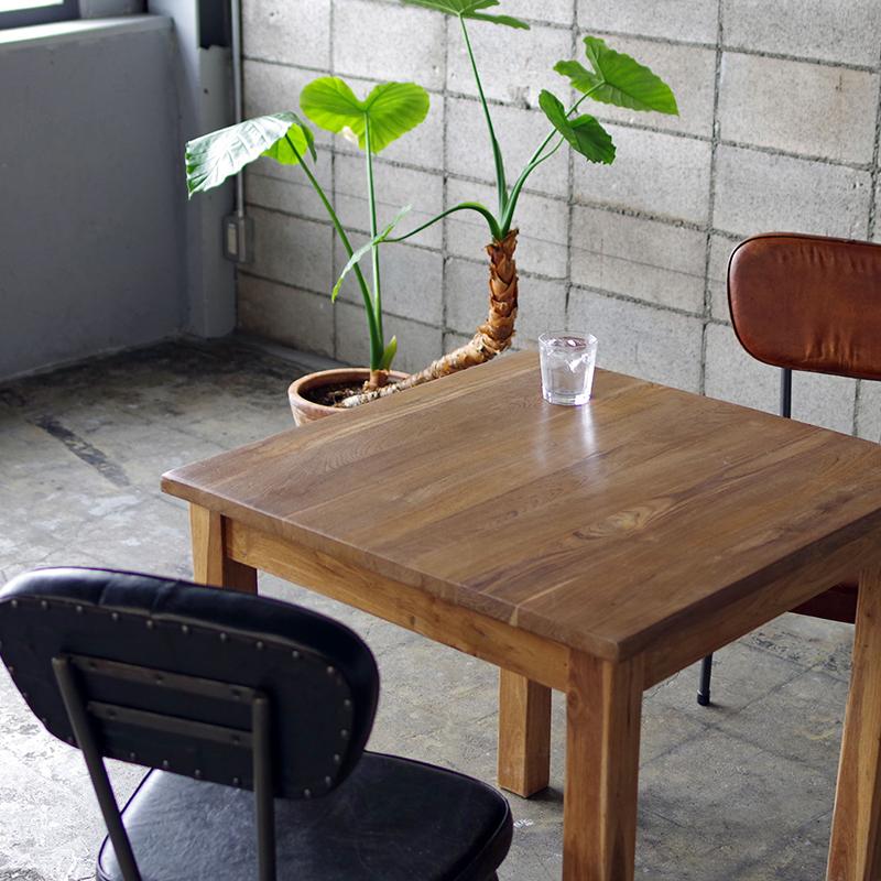 テーブル 無垢 木製 チーク ダイニングテーブル カフェテーブル 什器