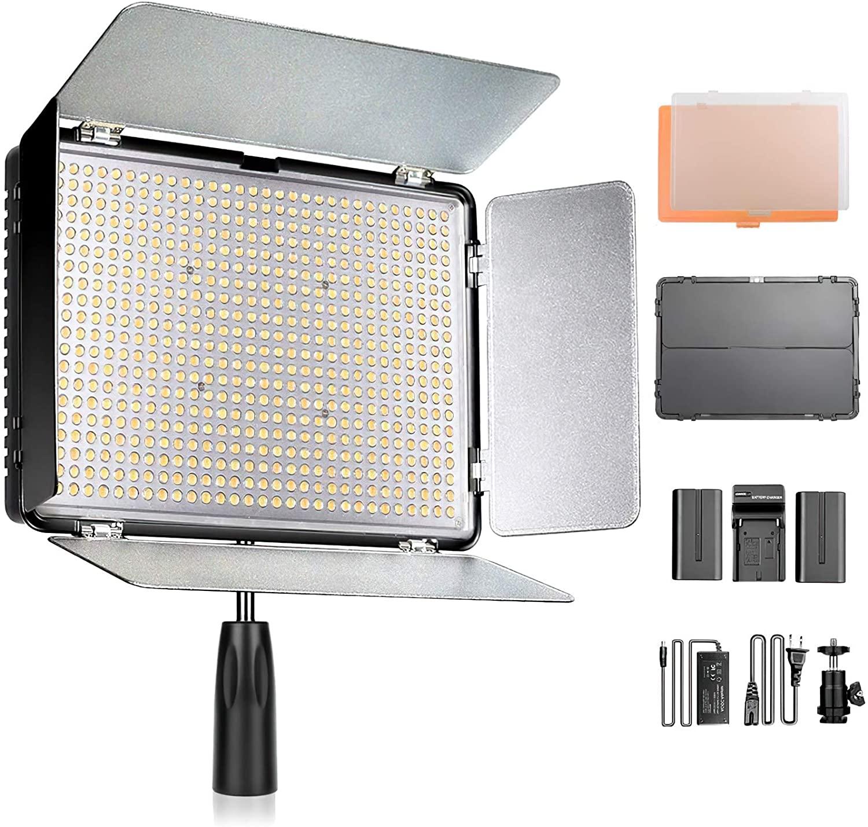 SAMTIAN 600Sビデオライトセット LEDカメラ撮影照明ライトキット 3200K-5600K二色温度 LCDディスプレイと遮光板 10%-100%調光可能 限定タイムセール プレゼント