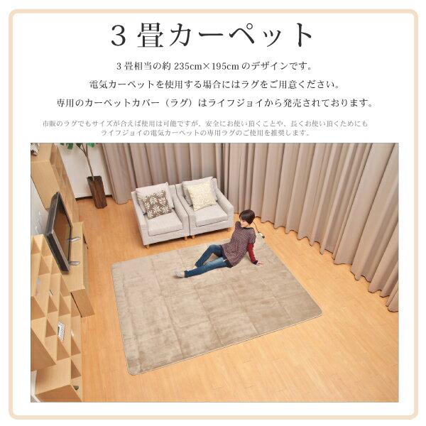 LIFEJOY 軽くて丈夫 日本製 電気カーペット ホットカーペット 3畳 235cm×195cm グレー JCU301