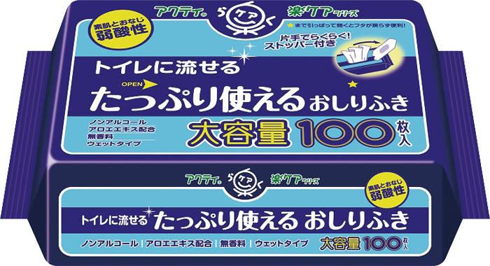 たっぷり使える大容量 お尻拭き 新作送料無料 日本製紙クレシア アクティ トイレに流せるタップリ使えるおしりふき キャンペーンもお見逃しなく 1ケース 24袋 100枚 × 80623