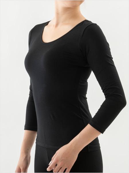 オーラ岩盤浴インナー(8分袖) ブラック