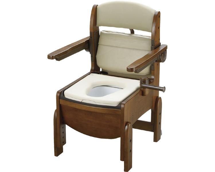 送料無料!! 木製トイレ きらくコンパクト 肘掛跳ね上げ / 18560 やわらか便座【リッチェル☆☆】【smtb-KD】
