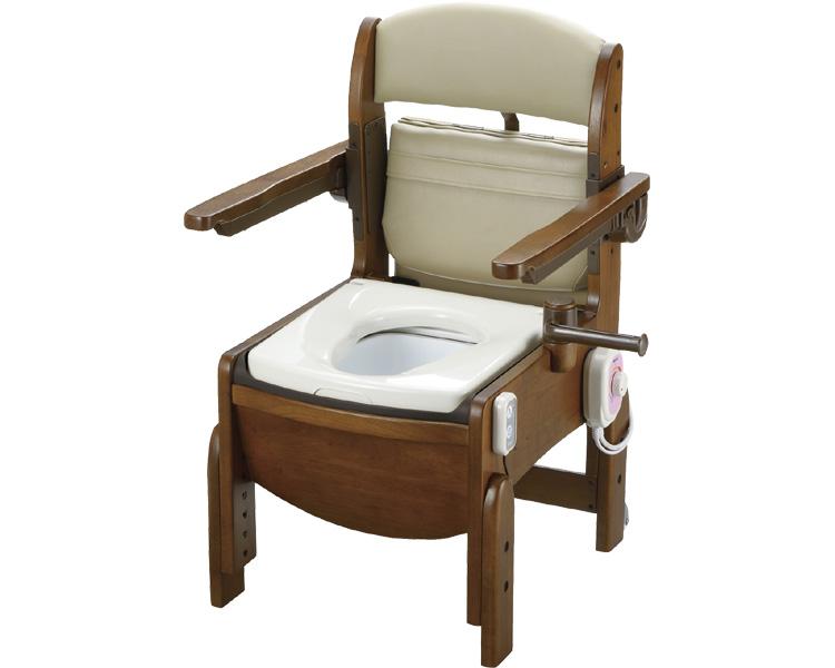 送料無料!! 木製トイレ きらくコンパクト 肘掛跳ね上げ / 18650 暖房脱臭便座【リッチェル☆☆】【smtb-KD】