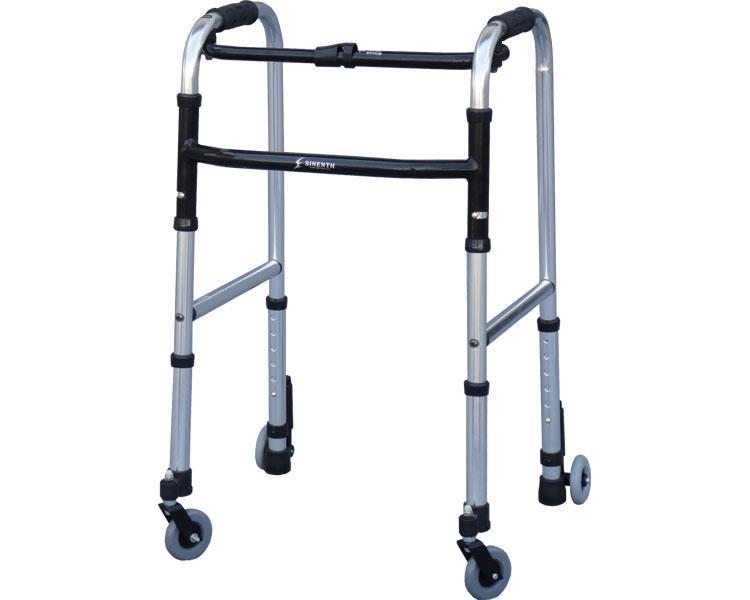 スリムフレームウォーカー・キャスターモデル / WFS-4968SW3GW シンエンス 四輪歩行器(介護用品 歩行器 介護 高齢者 歩行器)