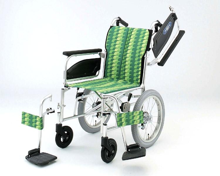 車椅子 軽量 アルミ介助式車椅子 NAH-446W アームレスト跳ね上げ脚部開閉着脱 日進医療器(車椅子 車いす 車イス)