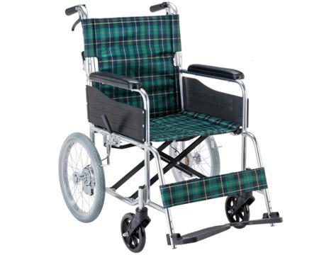 車椅子 車いす 車イス 送料無料 エコノミー 介助用車いす / EW-30GN 緑チェック【マキライフテック】【smtb-KD】