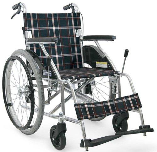 車椅子 軽量 アルミ製標準車いす 自走用 KV22-40SB / A22(黒チェック)カワムラサイクル