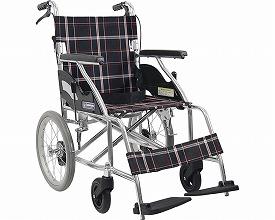 車椅子 軽量 アルミ製標準車いす 介助用 KV16-40SB / A22(黒チェック)(黒チェック)【カワムラサイクル】【車イス】【smtb-KD】