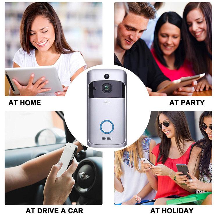 EKEN 充電式ワイヤレスインターフォン 8GBカード付属 Wi-Fi接続 配線不要 取付簡単 スマホ遠隔操作 来客 宅配便 防犯 アモニター 720P録画 動体検知 LP-EKENDOB8G
