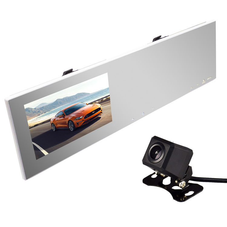 ルームミラー型ドライブレコーダー+小型バックカメラセット 4.3インチモニター内蔵 地デジノイズ対策 高画質CCDカメラ 広角レンズ 正像鏡像切替 12V車用 右ハンドル向けナンバー LP-KAIDU100A206C キャッシュレス 還元