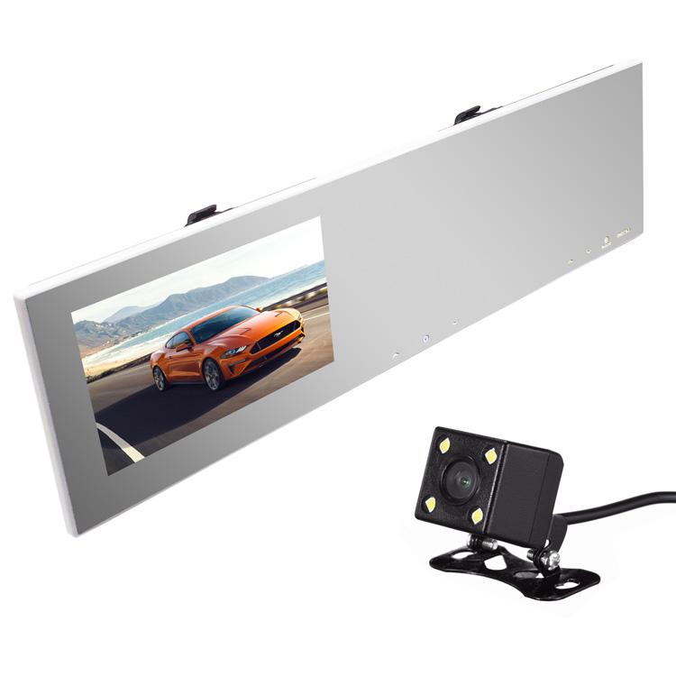 ルームミラー型ドライブレコーダー+LED搭載バックカメラセット 4.3インチモニター内蔵 地デジノイズ対策 高画質CCDカメラ 暗視 ガイドライン切替 12V車用 右ハンドル向けナンバー LP-KAIDU100BK006