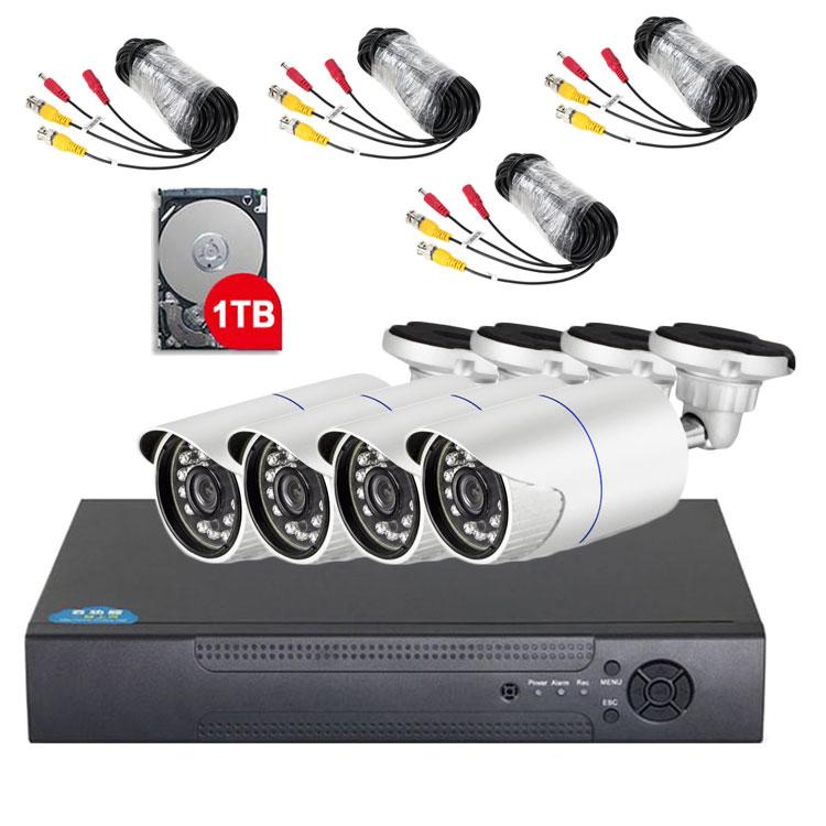 4チャンネルDVRレコーダー+防犯カメラ4台+HDD(1TB)+延長ケーブル 防犯システムフルセット 屋外屋内兼用 4CH AHDレコーダー 720P録画 安心 防犯セット LP-DVR4KIT 送料無料 キャッシュレス 還元
