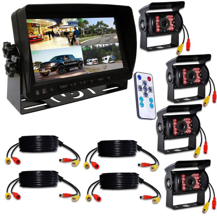 12/24V トラック対応 暗視 正像鏡像対応 ドラレコ 7インチ遮光式モニター SDカード録画記録 4チャンネル同時録画可 4分割表示可 カメラ+ケーブル4セット LP-MN74DVR500GNXS4 送料無料 キャッシュレス 還元