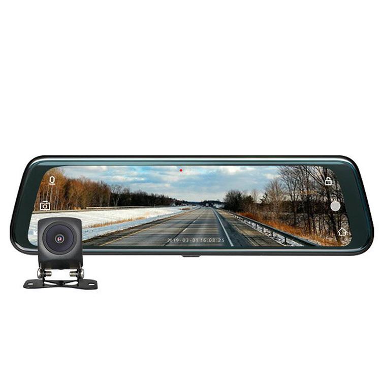 広角ミラー型ドライブレコーダー あおり防止 R0013 9.66インチ 交通事故 前後カメラ 簡単設置 タッチパネル バックカメラ映像 ミラー全画面 EONON 記録 フルHD