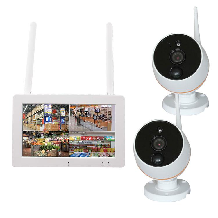 タッチモニター+防犯カメラ2台セット 充電式 屋内/屋外用 7インチタッチパネル IPS液晶 防犯監視システム 200万画素 日本語メニュー LP-TSF712G64 送料無料 キャッシュレス 還元