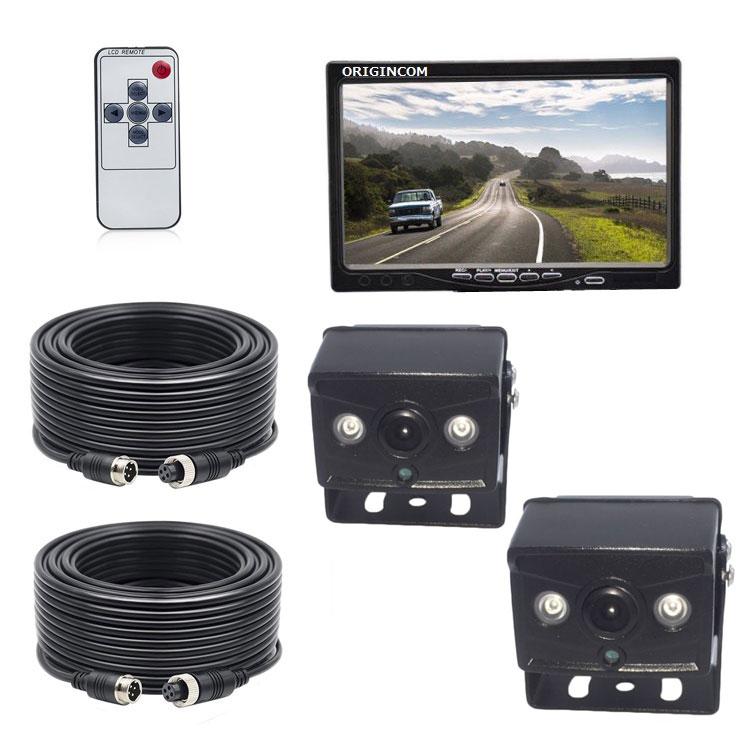 AHDデジタルバックカメラ2個搭載 車載レコーダー 12/24V車兼用 エンジン連動 上書き 危険運転対策 リモコン付き メモリカード録画 7インチDVRモニター LP-OMT70AHDSET2 送料無料 キャッシュレス 還元