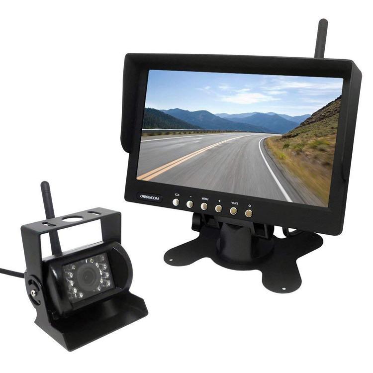 バックカメラセット ワイヤレス接続にも対応 LED18灯 DC12/24V車対応 リモコン付 赤外線暗視カメラ 7インチオンダッシュモニター LP-CMN75 キャッシュレス 還元