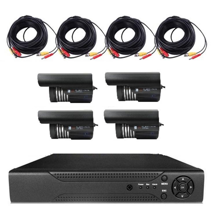 カメラ4台+レコーダー+HDDセット 動体感知機能 スマホで映像確認&操作 カメラ4台同時録画可能 P2P対応 防水赤外線 1TB LP-DVR4CHNEWHDDSET 送料無料