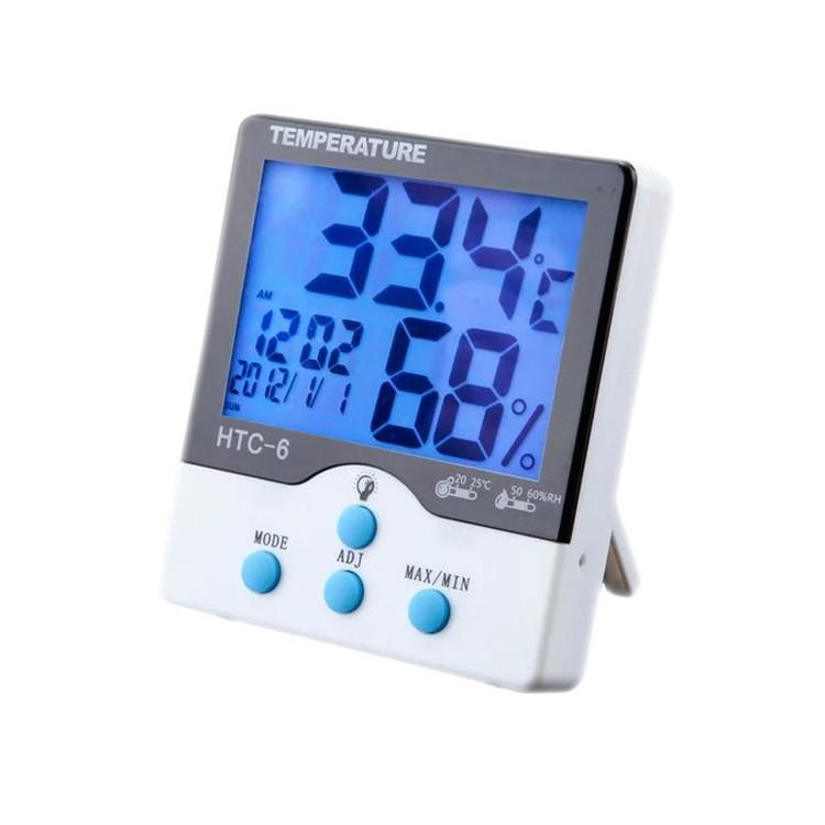 価格 お部屋の湿度計測に 液晶デジタル温湿度計 バックライト付きで夜間も見やすい カレンダー LP-HTC6 時計表示 送料無料 大放出セール