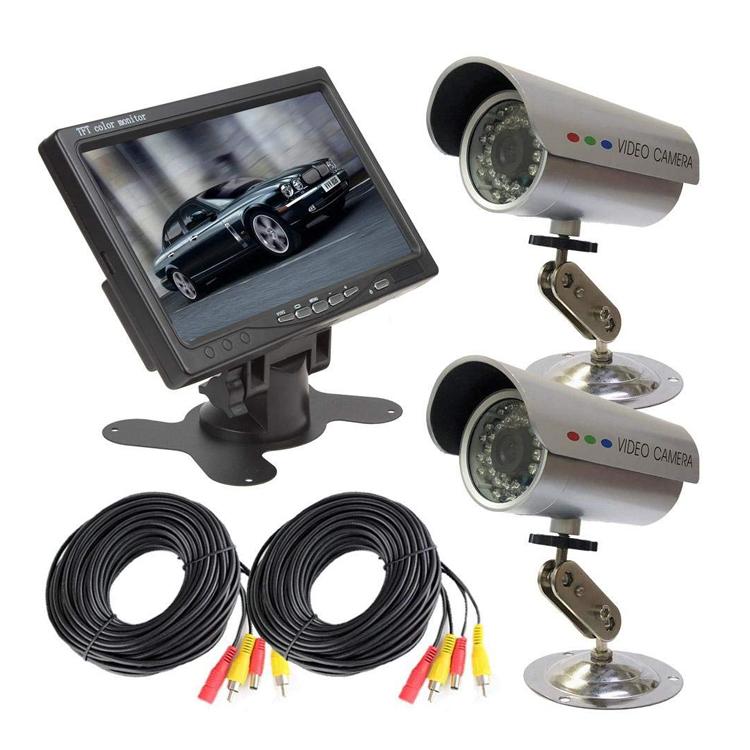 モニター+監視カメラ2台セット 接続用20mケーブル付属 赤外線暗視仕様カメラ VGA入力対応モニター 屋外用 7インチ LP-VGA7CT1X2