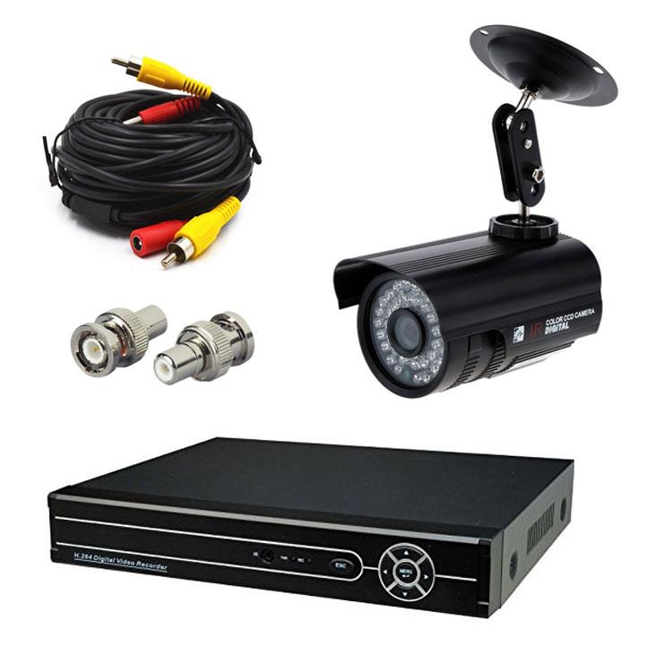 4CHデジタルレコーダー+CCTVカメラ+20M映像ケーブル 防犯カメラセットBNC端子4個付き スマホでどこからでも監視 暗視防水防犯カメラ LP-DVR6404CT100SET