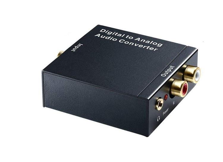 オーディオ変換器 デジタル(光&同軸)からアナログ(RCA)変換 DAコンバーター TOSLINK入力 コンポジット出力 USB、光ケーブル付き 3.5mm出力 イヤホン対応 LP-DACSET35M 送料無料