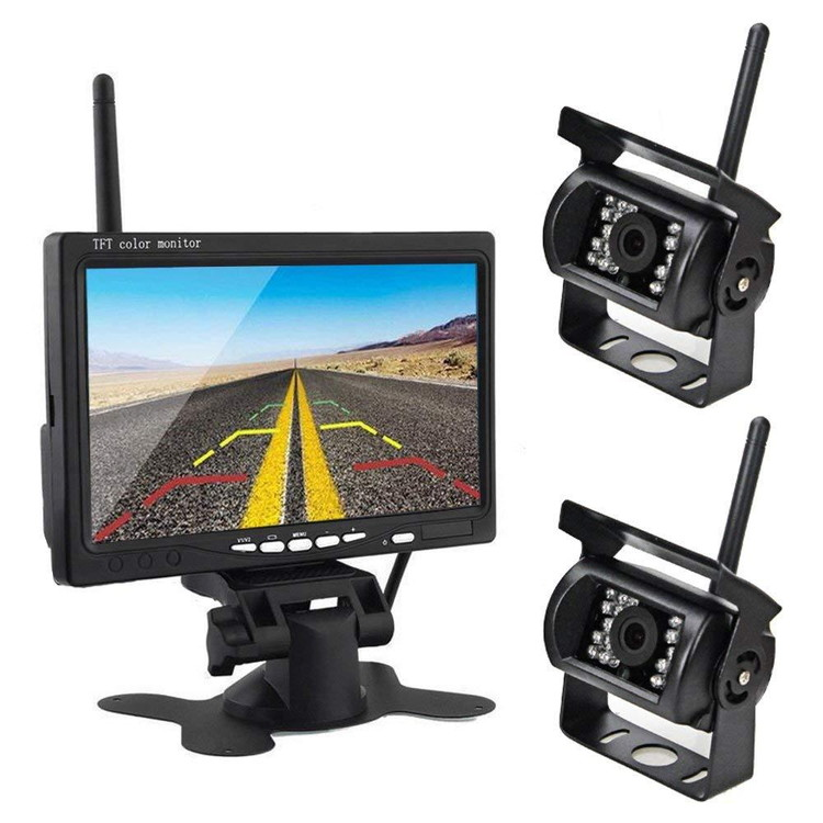 カメラ2個搭載ワイヤレスバックカメラセット 防水 暗視 無線簡単取り付け 7インチモニター 12-24V兼用 2チャンネル トラック トレーラーなどに LP-OMT77SET 送料無料 キャッシュレス 還元