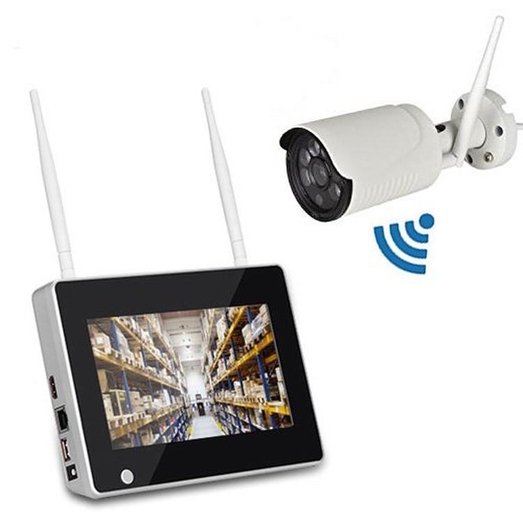 HDD録画 スマホ/タブレット対応 日本語 屋内・屋外両用 送料無料 無線NVR 高画質 遠隔監視 + WIFIカメラ1台 200万画素 LP-CSY711 HDD別売り 7インチモニター無線防犯カメラセット